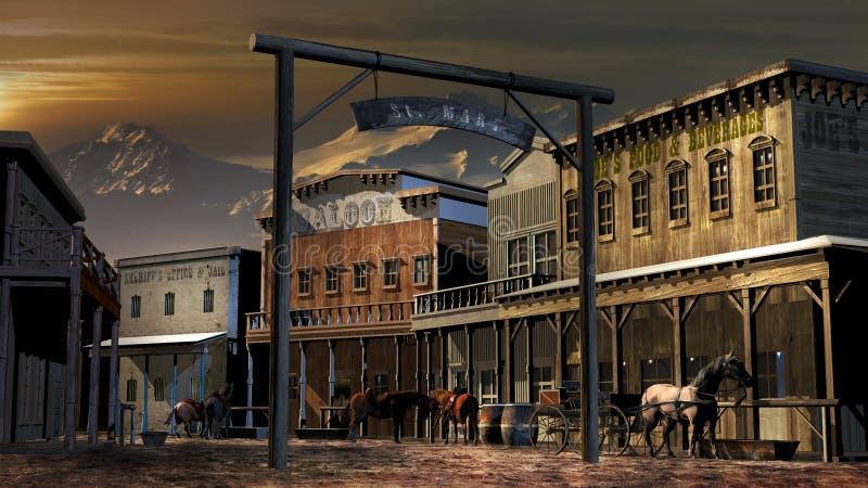 Oude westelijke stad dicht bij bergen stock illustratie