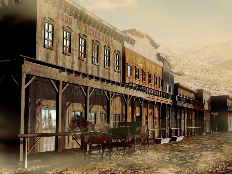 Oude westelijke straat royalty-vrije illustratie