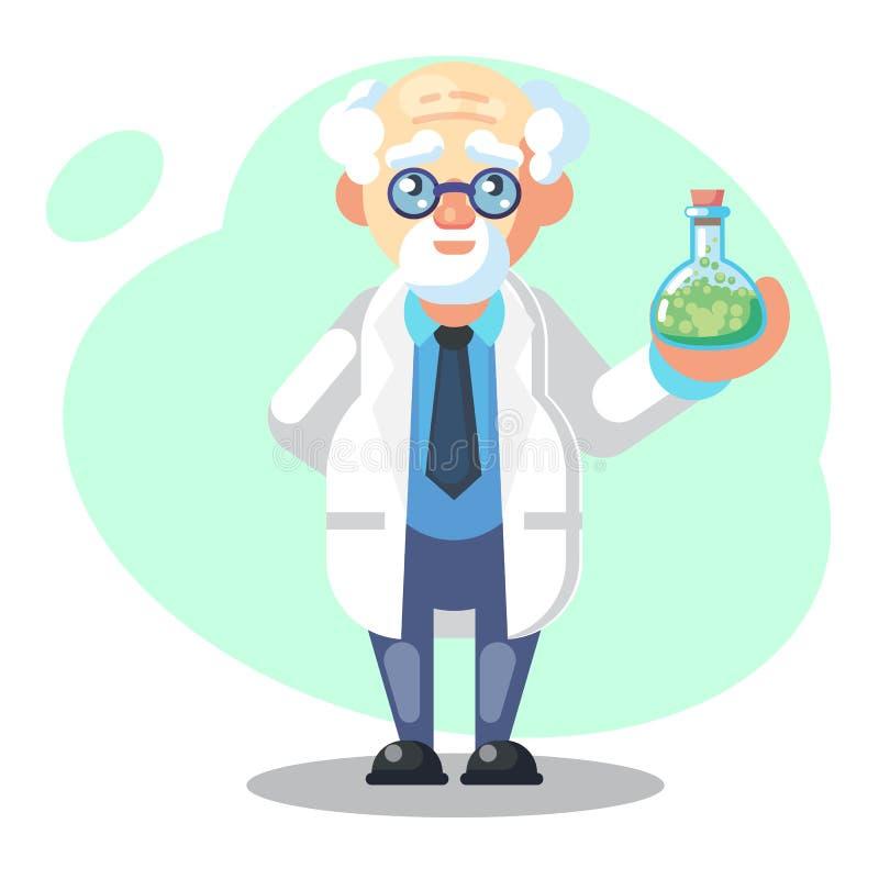 Oude wetenschapper met fles, drankje, mengsel Grappig karakter De vectorillustratie van het beeldverhaal gekke professor wetensch vector illustratie