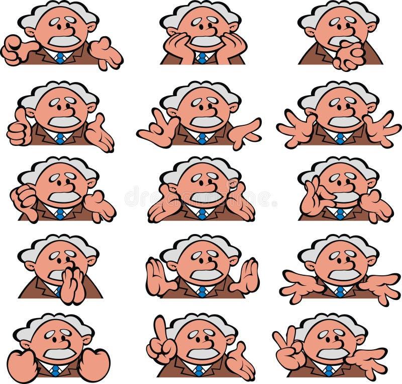 Oude wetenschapperglimlachen vector illustratie