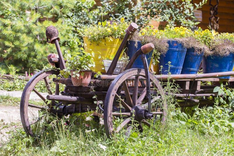 Oude wiel houten kar met bloemen in de tuin De Karpaten, de Oekraïne stock afbeelding