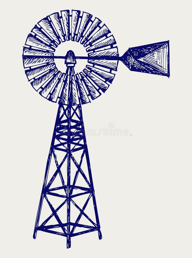 Oude windmolen. De stijl van de krabbel stock illustratie