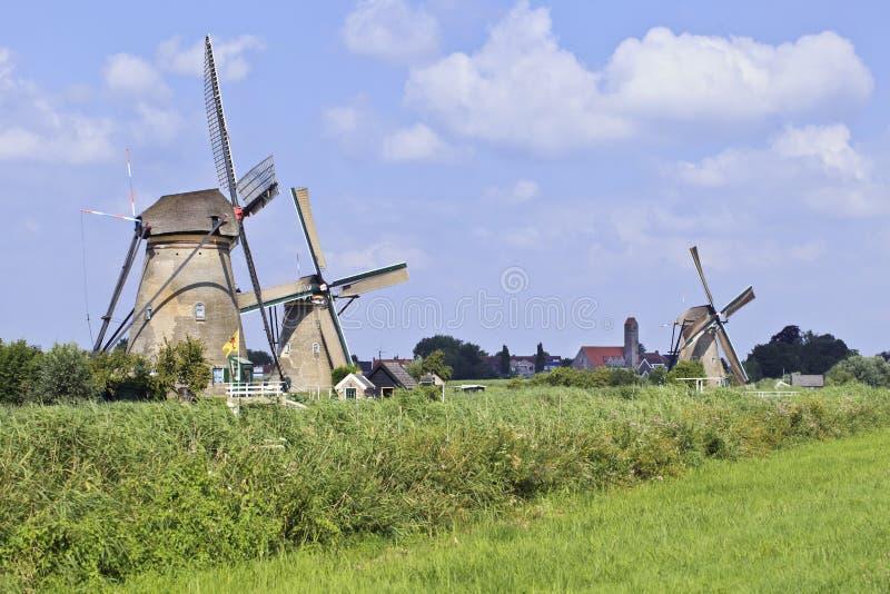 Oude windmolens op een vers groen gebied op een de zomerdag bij royalty-vrije stock afbeelding