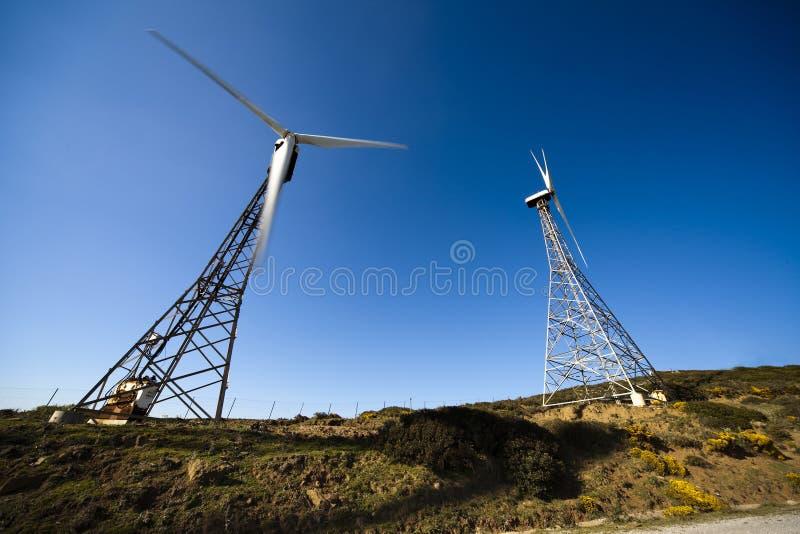 Oude windturbines stock fotografie