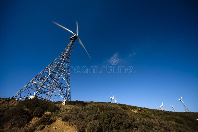 Oude windturbines royalty-vrije stock afbeeldingen