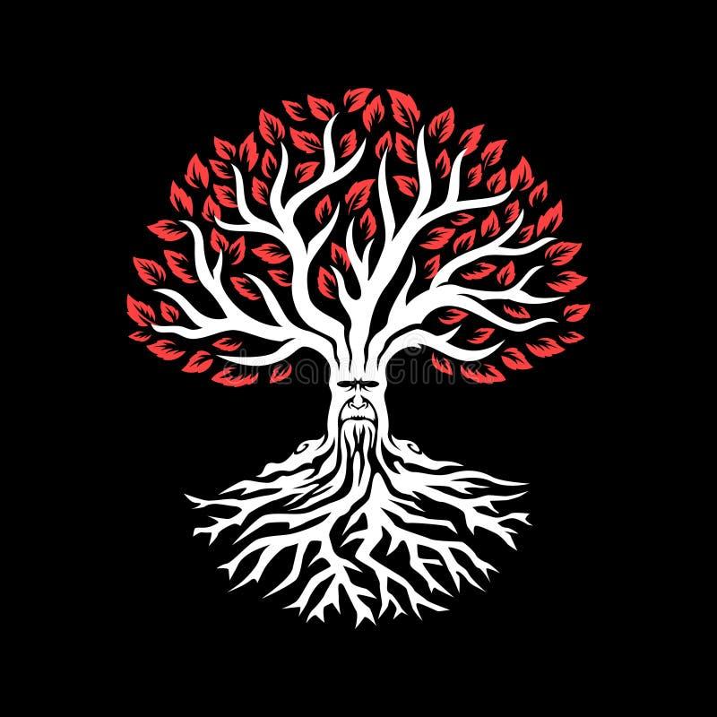 Oude witte boom met rode bladeren De boom van de fantasie stock illustratie