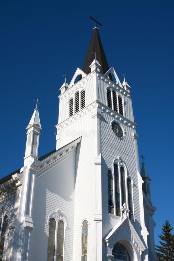 Oude witte houten kerk op Eiland Mackinac royalty-vrije stock afbeelding