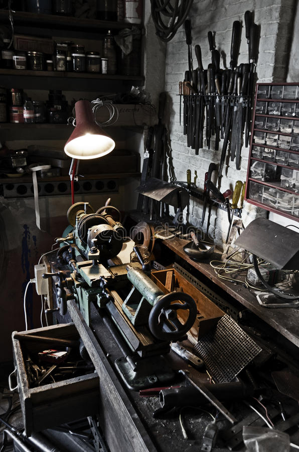 Oude workshop royalty-vrije stock afbeeldingen