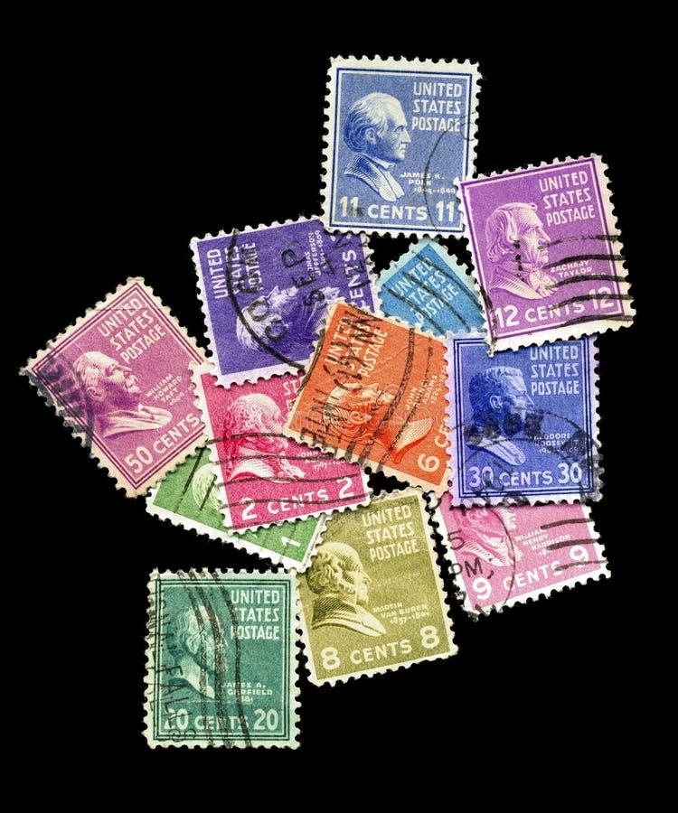 Oude zegels met voorzitters royalty-vrije stock foto