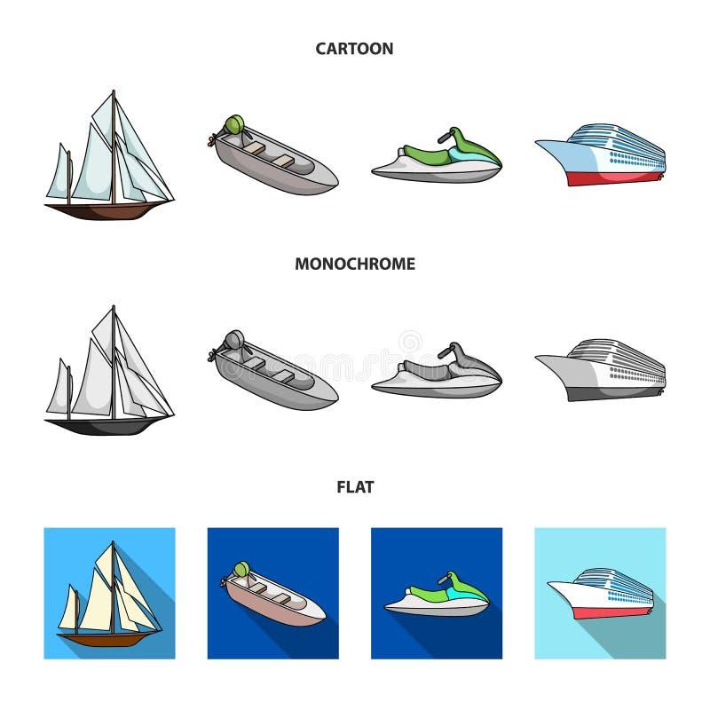 Oude zeilboot, motorboot, autoped, mariene voering Schepen en vastgestelde de inzamelingspictogrammen van het watervervoer in vla royalty-vrije illustratie