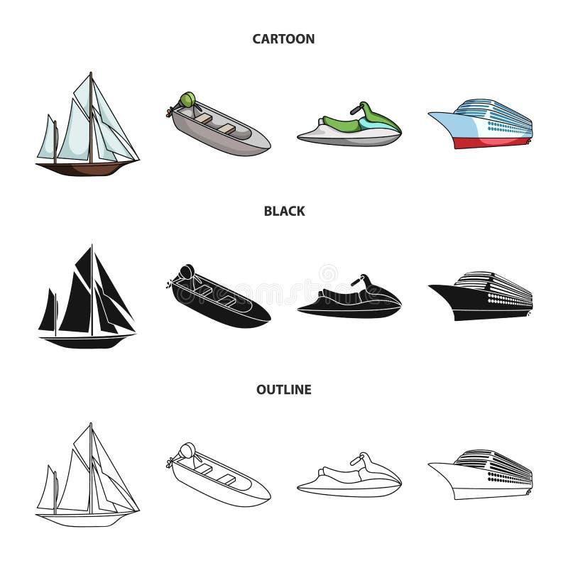 Oude zeilboot, motorboot, autoped, mariene voering Schepen en vastgestelde de inzamelingspictogrammen van het watervervoer in zwa vector illustratie