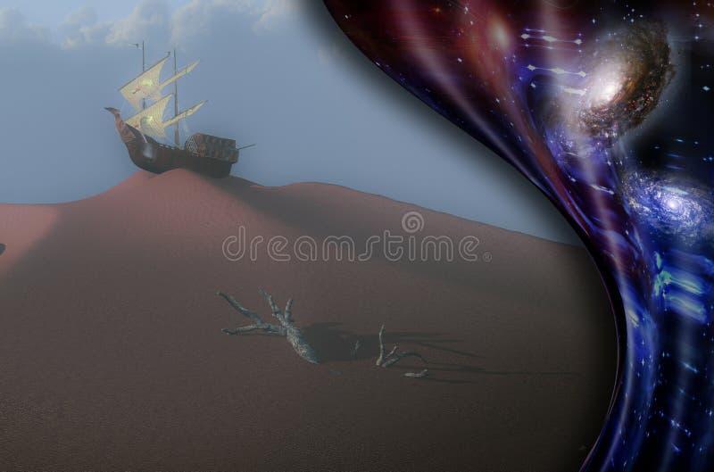 Oude zeilboot op een zandduin royalty-vrije illustratie