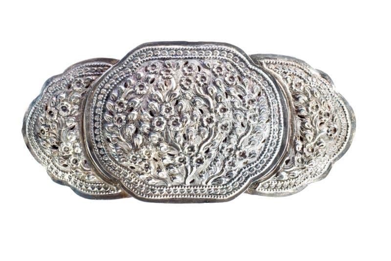 Oude zilveren gesp royalty-vrije stock foto's