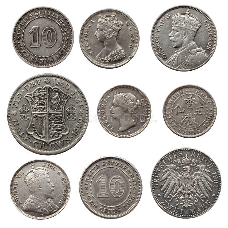 Oude zilveren muntstukken stock foto