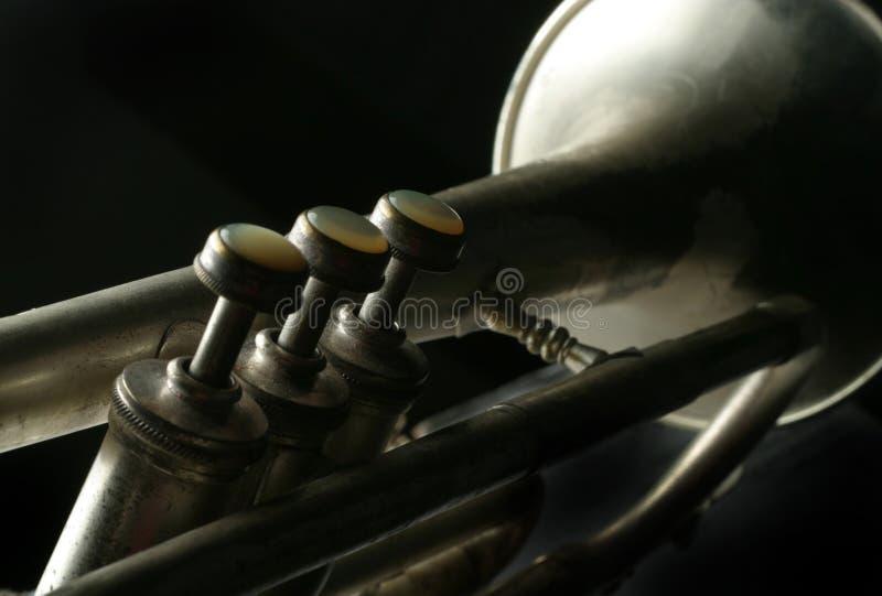Oude Zilveren Trompet stock afbeelding