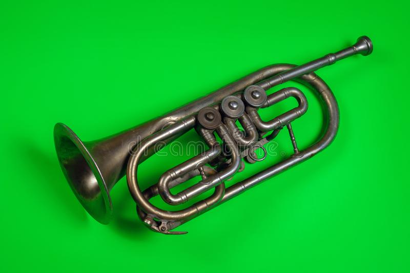 Oude Zilveren Trompet royalty-vrije stock foto's