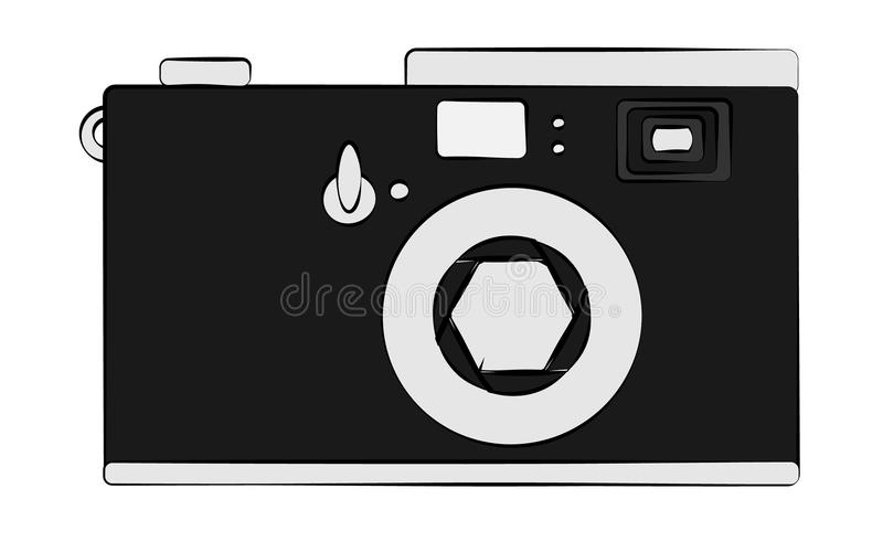 Oude zwart-witte retro uitstekende antieke hipster verouderde camera op witte achtergrond royalty-vrije illustratie