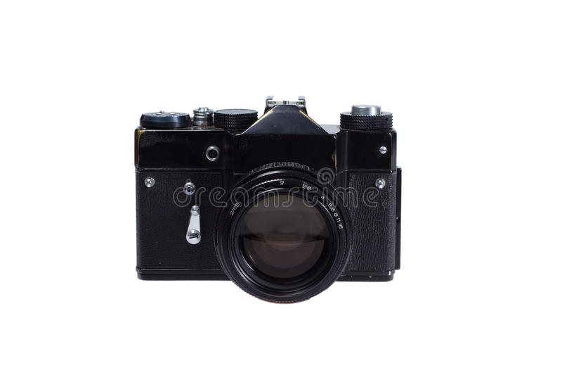 Oude zwarte 35mm camera SLR royalty-vrije stock afbeeldingen
