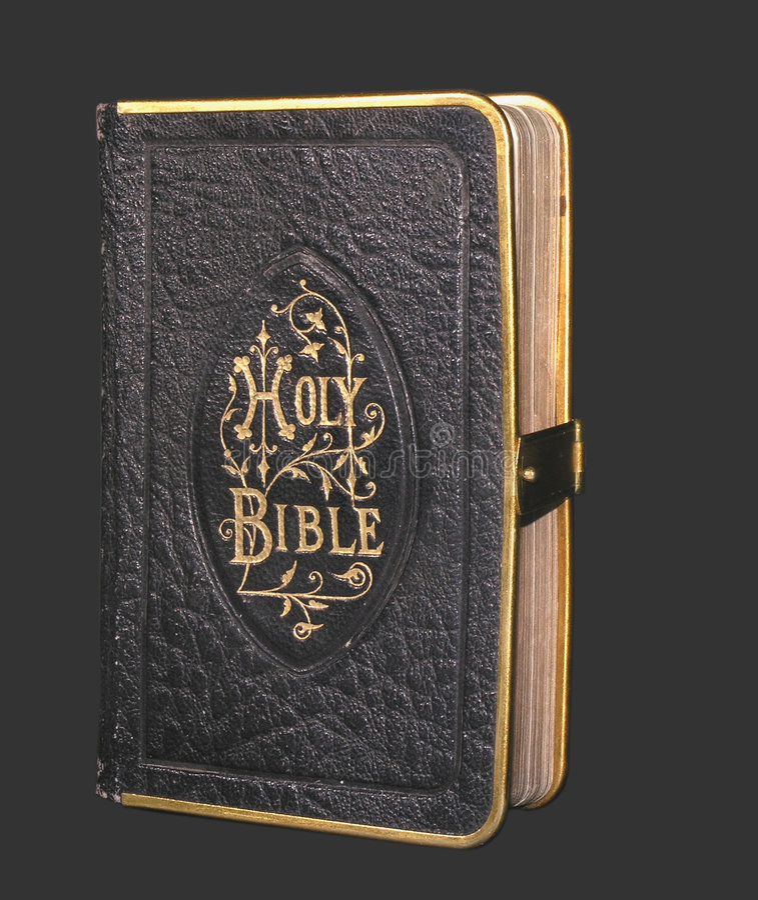 Oude zwarte bijbel royalty-vrije stock foto