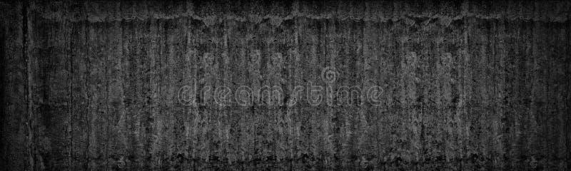 Oude zwarte concrete muur brede textuur Donkergrijze Cementachtergrond stock foto