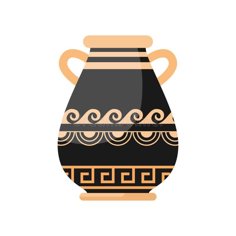 Oude zwarte gele kleuren Griekse brede vaas vector illustratie
