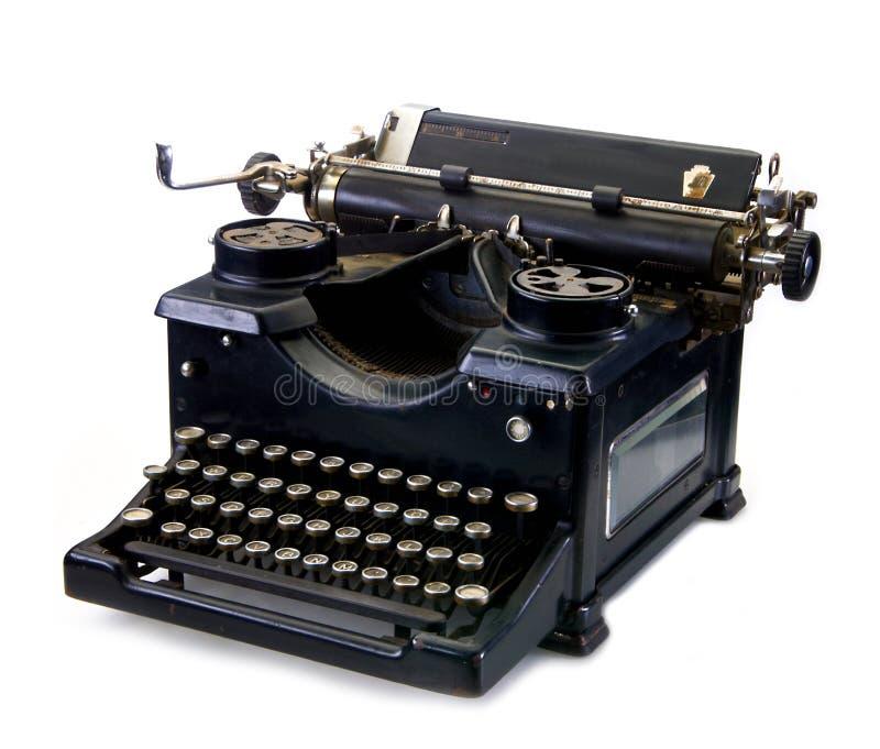 Oude zwarte uitstekende schrijfmachine stock afbeelding