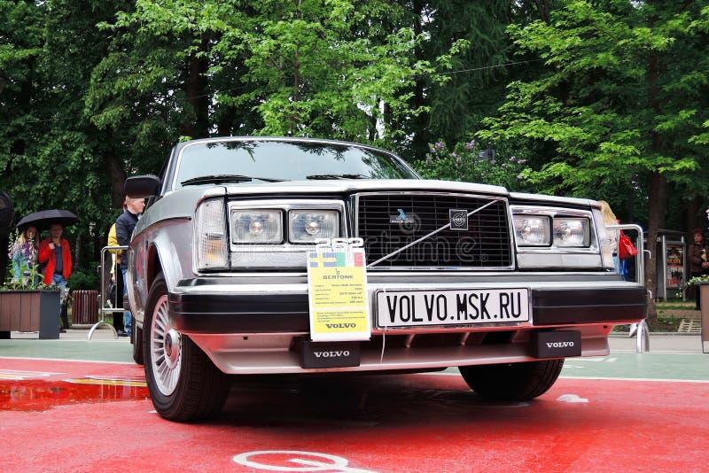 Oude zwarte Volvo-auto in Retro Fest in Moskou royalty-vrije stock foto