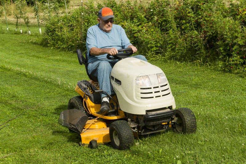 Ouder Heren Scherp Gras bij het Berijden van Grasmaaier stock afbeelding