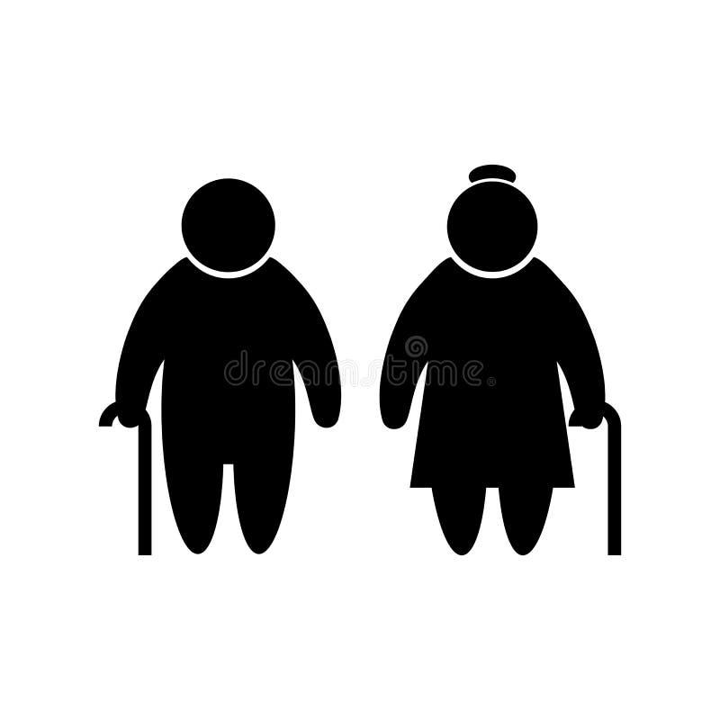 Ouder mensenpictogram in vlakke simbol van stijl Oude mensen stock illustratie