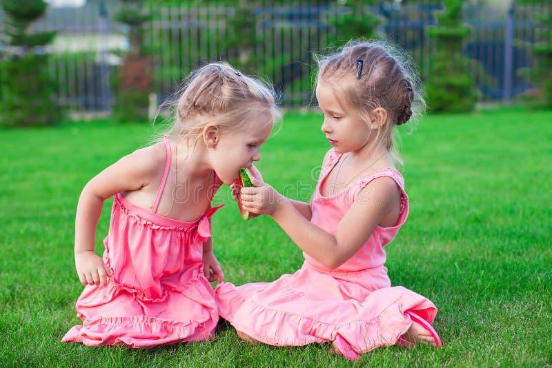 Ouder zuster het voeden jonger stuk van watermeloen stock foto