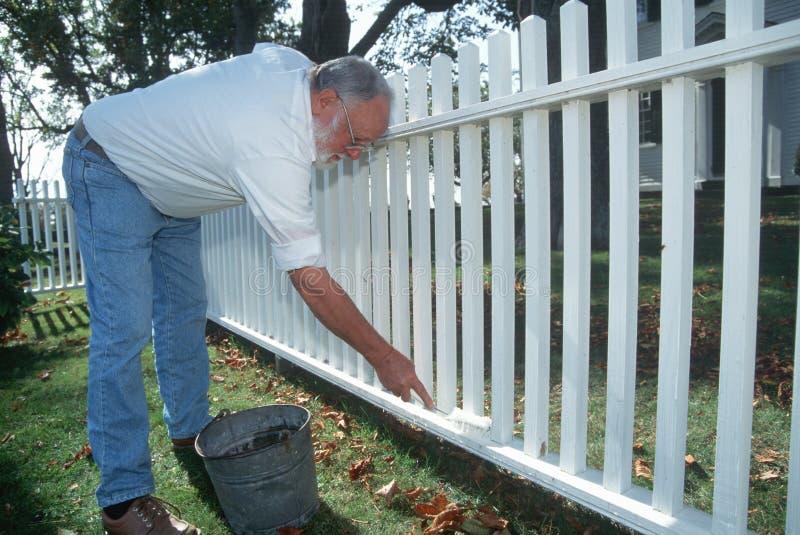 Oudere mens die witte piketomheining schildert stock foto
