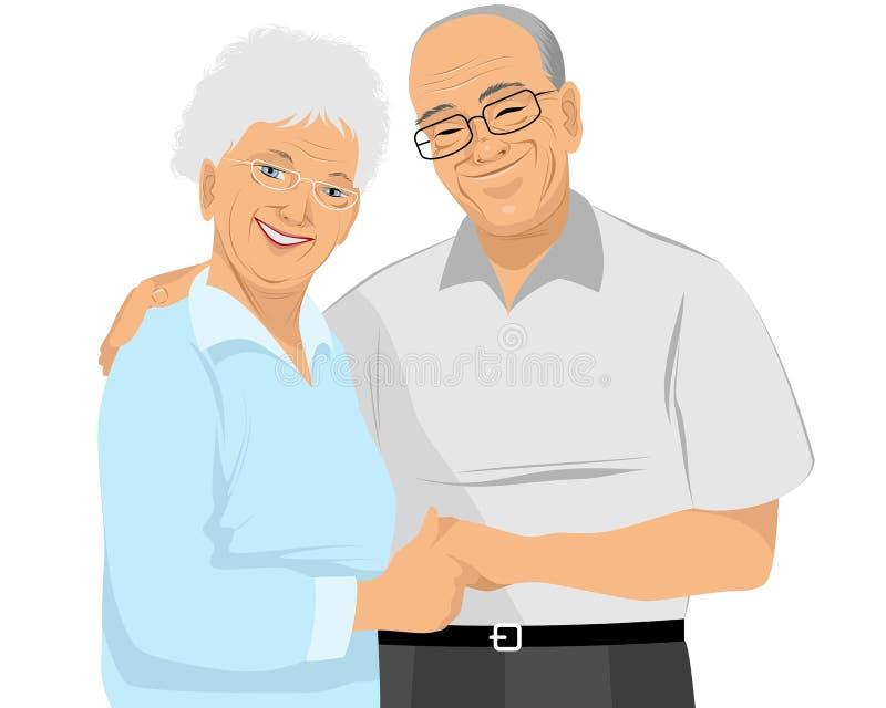 Oudere paaromhelzingen royalty-vrije illustratie