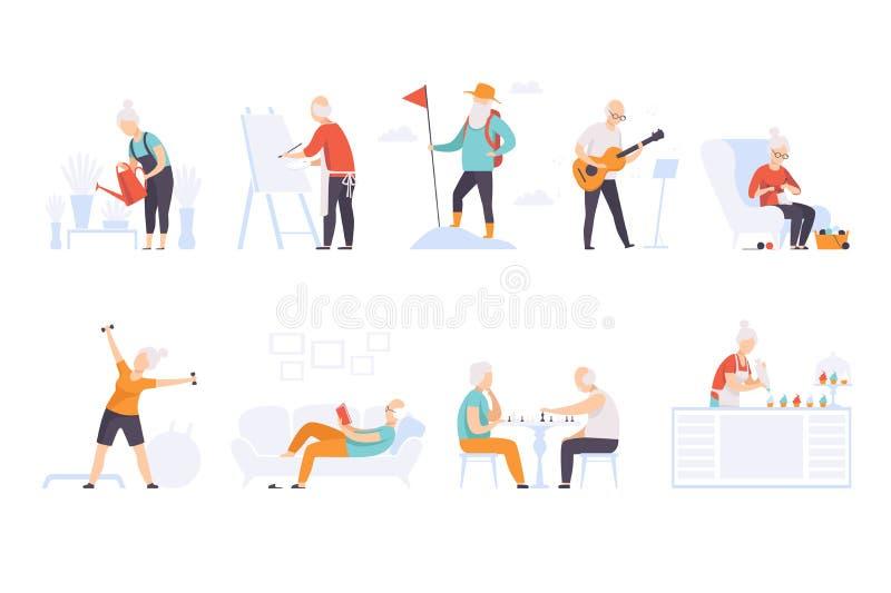 Ouderen die genieten van verschillende hobby's, oudere mannen en vrouwen die een actieve levensstijl leiden en een vector zijn va stock illustratie