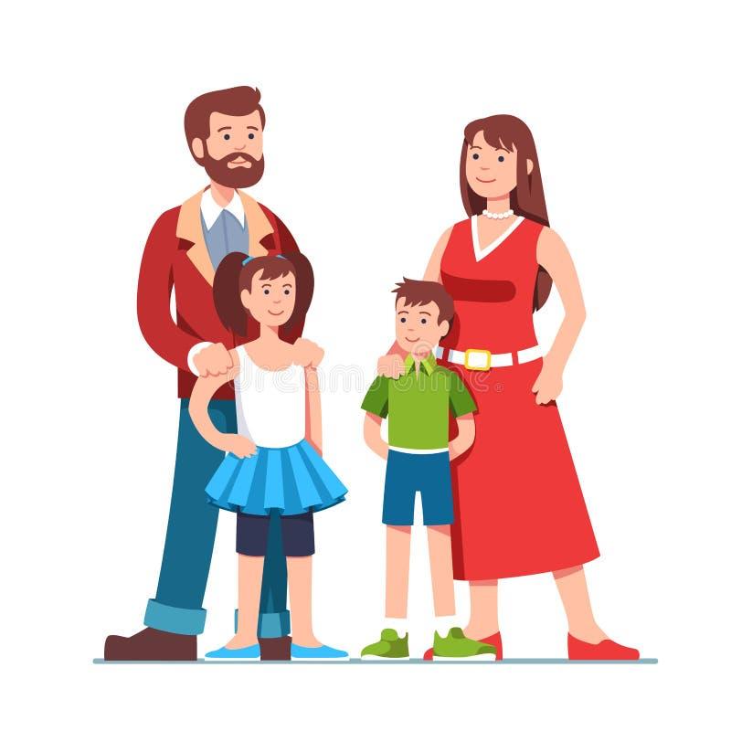 Ouders die zich samen met kinderen bevinden Familie vector illustratie
