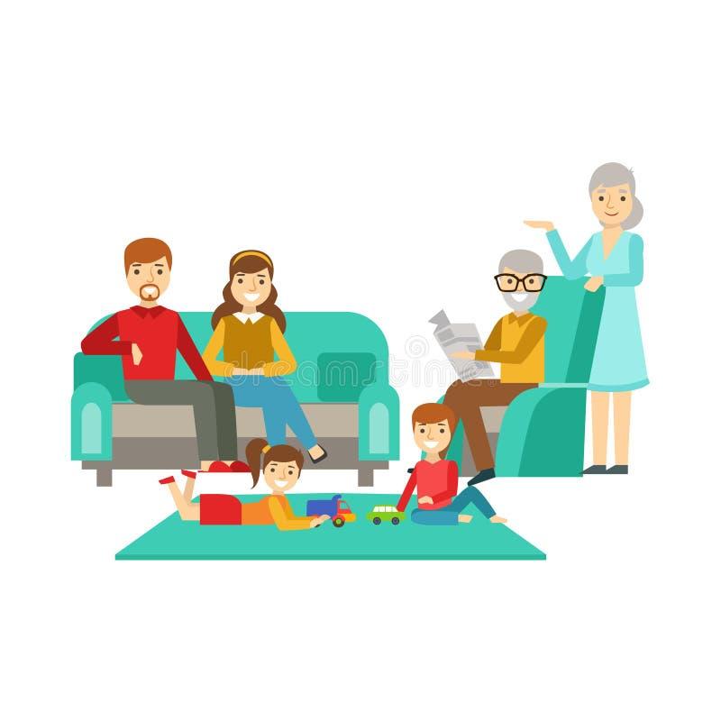 Ouders en Grootouders die Jonge geitjes op Spel, Gelukkige Familie letten die Goede Tijd samen Illustratie hebben royalty-vrije illustratie