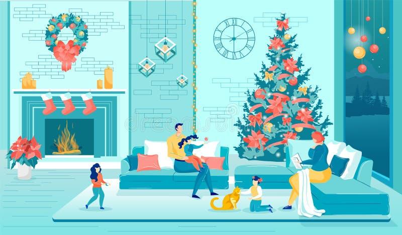 Ouders Kinderen rusten in Cozy Living Room op Kerstmis vector illustratie