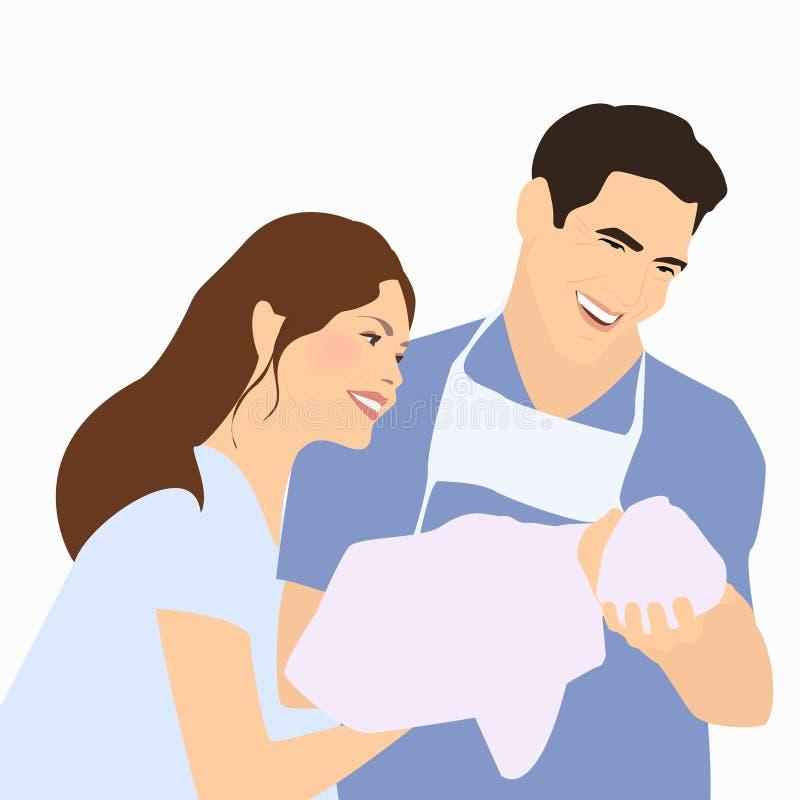 Ouders, vaderholding pasgeboren na levering Een gelukkige familie royalty-vrije illustratie