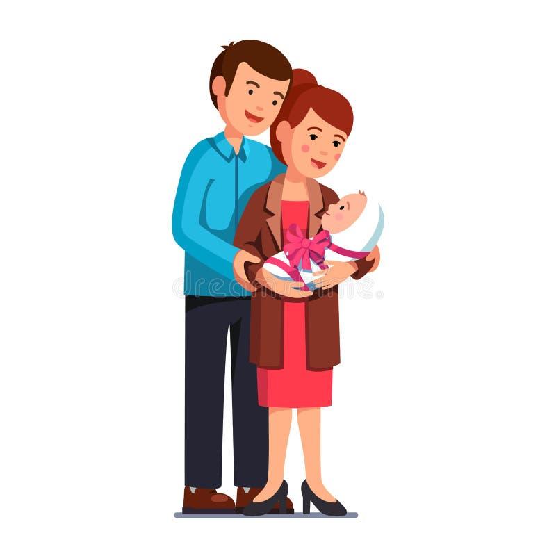 Oudersmamma, papa die omhelzend pasgeboren baby bevinden zich royalty-vrije illustratie