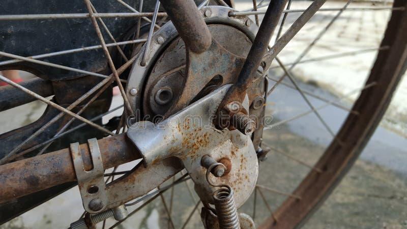 Ouderwets fietsremsysteem stock foto's