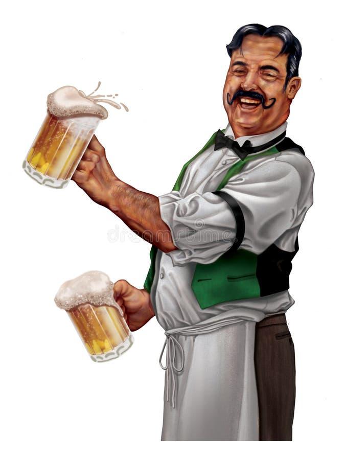 Ouderwetse barman royalty-vrije illustratie
