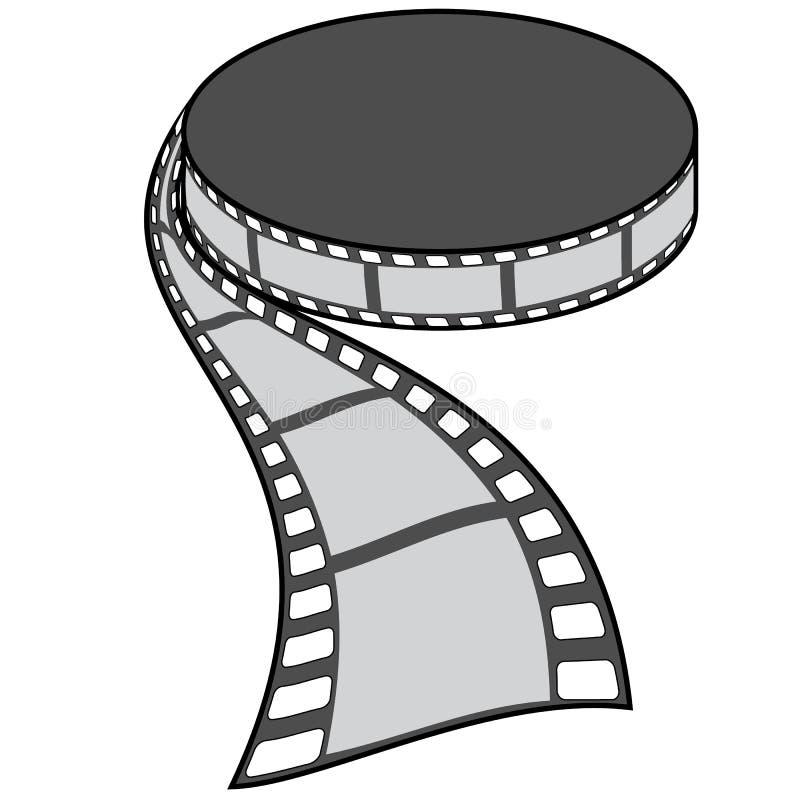 Ouderwetse filmspoel in geïsoleerd perspectief, stock illustratie
