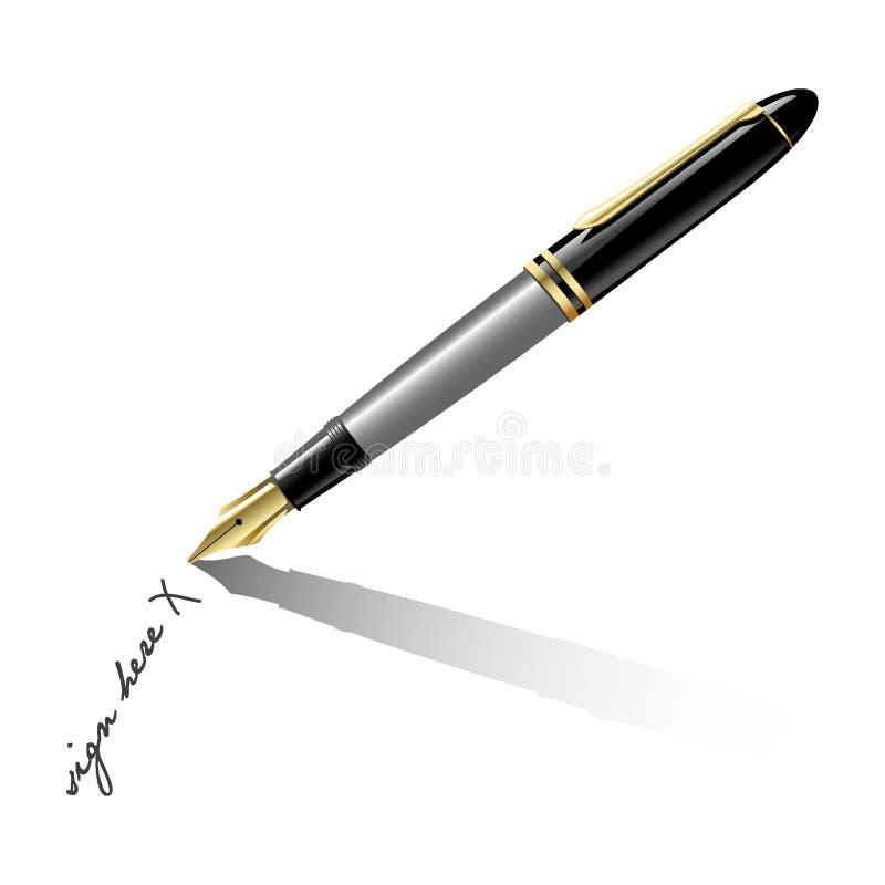 Ouderwetse fontein-pen royalty-vrije illustratie