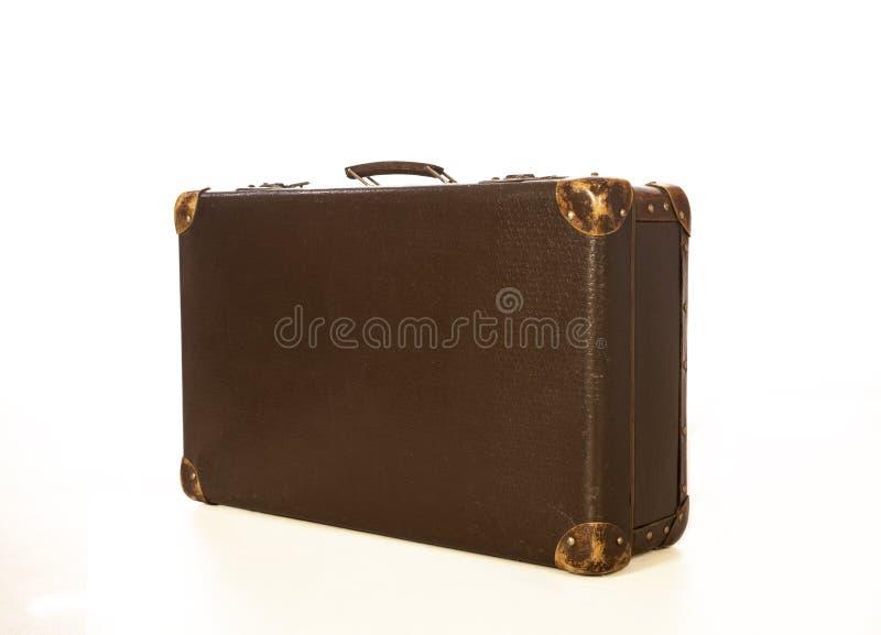 Ouderwetse geïsoleerde koffer Foto van de voorzijde royalty-vrije stock fotografie