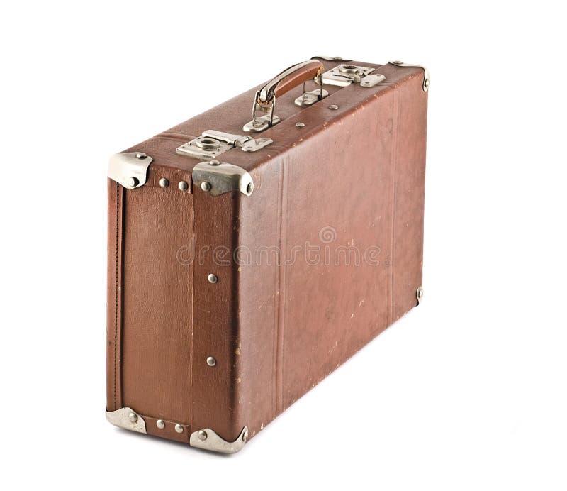 Ouderwetse gekraste geïsoleerdee koffer stock afbeeldingen
