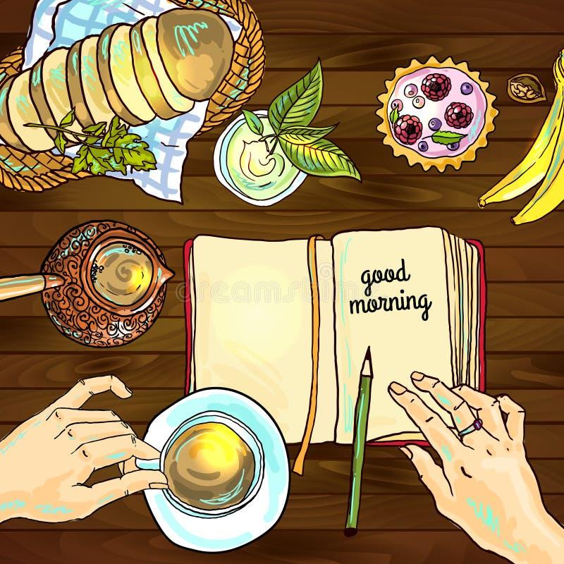 Ouderwetse ochtendscène: antieke schrijfmachine, kop van verse koffie, bedrijfscontract en pen stock illustratie