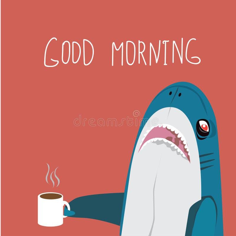 Ouderwetse ochtendscène: antieke schrijfmachine, kop van verse koffie, bedrijfscontract en pen Grappige shalk met koppen koffiegl vector illustratie