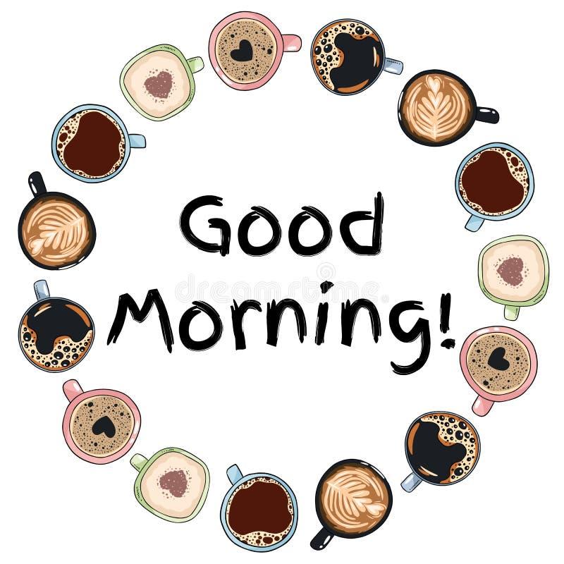 Ouderwetse ochtendsc?ne: antieke schrijfmachine, kop van verse koffie, bedrijfscontract en pen Decoratieve kroon van koffiekoppen royalty-vrije illustratie