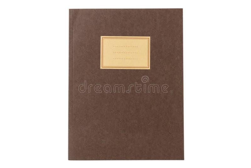 Ouderwetse school het notitieboekje geïsoleerd op witte achtergrond, leeg etiket, kopieert ruimte, hoogste mening royalty-vrije stock afbeelding