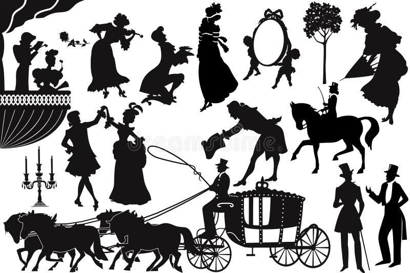 Ouderwetse silhouetten stock illustratie