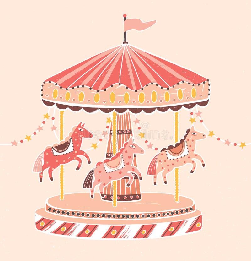 Ouderwetse stijlcarrousel, rotonde of vrolijk-gaan-rond met paarden Vermaakrit voor kinderen` s vermaak royalty-vrije illustratie